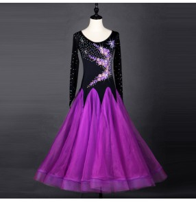 Custom size children kids girls competition ballroom dresses stage performance waltz tango dancing dress skirts