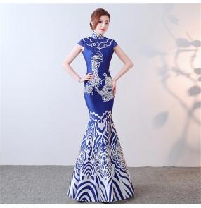 Custom size Chinese dresses oriental qipao dress for women Host singers dress blue white porcelain cheongsam long fishtail show miss etiquette performance evening dress