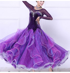 Custom size competition ballroom dance dresses for girls female violet fuchsia velvet diamond professional waltz tango dance flamenco dresses