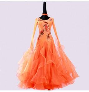 Custom size competition ballroom dance dresses rhinestones for women girls pink orange professional waltz tango long length skirt dresses