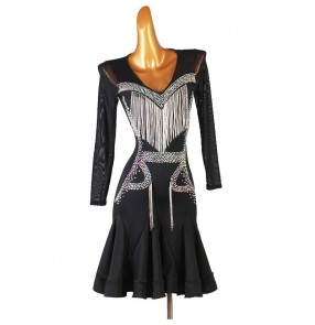 Custom size competition latin dance dress for women diamond tassels professional stage performance latin dance costumes salsa chacha dresses for female