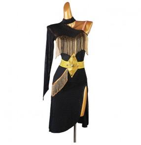 Custom size competition latin dance dress for women girls beaded tassels diamond one shoulder latin dance skirts latin dance costumes for female