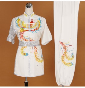 Custom size Competition martial art tai chi performance clothing Phoenix embroidery wushu clothes professional boxing competition athletic clothes for children adult