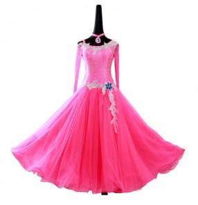 Custom size competition professional rhinestones ballroom dance dresses for women female pink mint red long sleeves waltz tango dance dresses