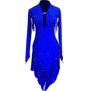 Custom size competition royal blue latin dance dresses for women girls tassels handmade rhinestones stage performance competition latin dance skirts latin dance costumes