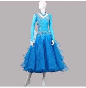 Custom size competition women girls turquoise colored Ballroom dance dresses long sleeves Ballroom dance performance skirts waltz tango dance dress ballroom dance costumes