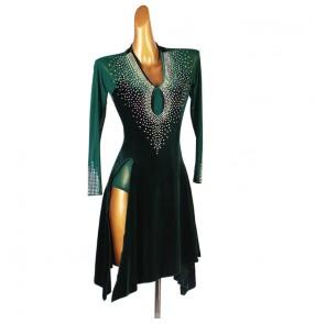 Custom size Dark green velvet rhinestones competition latin dance dress for women girls latin dance costumes stage performance rumba chacha dance dress for lady