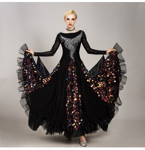 Custom size diamond black ballroom dancing dresses for women girls waltz tango dance dress