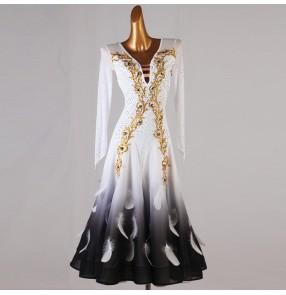 Custom size diamond competition white feather ballroom dance dress for women girls foxtrot standard smooth tango waltz dance dress for female