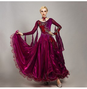 Custom size diamond wine ballroom dancing dresses stage performance waltz tango dance dress