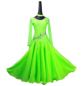 Custom size girls children women's ballroom dancing dresses green competition professional waltz tango dancing skirt dresses
