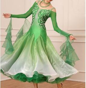 Custom size Green gradient competition ballroom dancing dresses for women girls bling handmade professional stage performance ballroom dancing skirts