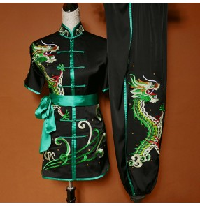 Custom size handmade Chinese dragon taichi uniforms wushu martial art kungfu competition performance suit for adult and children