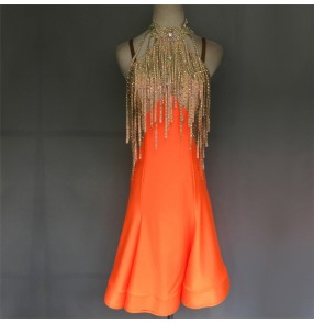 Custom size handmade competition stage performance orange women's girls latin dance dresses rumba samba chacha dance dress