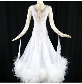 Custom size handmade competition white red rhinestones ballroom dance costumes for women female Waltz skirt dress Ballroom dancing skirt National Standard Dance dresses