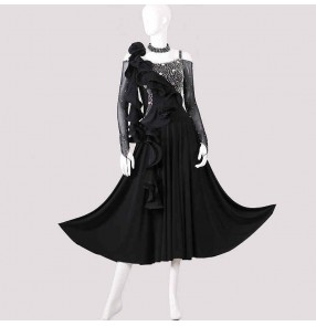 Custom size handmade diamond competition ballroom dance dresses for women girls stage performance ballroom dance costumes tango waltz dance dresses for female
