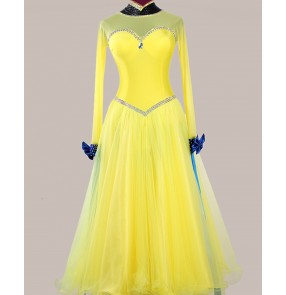 Custom size handmade yellow royal blue competition women girls ballroom dancing dress waltz tango dance dresses