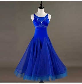 Custom size kids women ballroom waltz tango dancing dresses royal blue long length competition dress skirt for children
