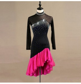 Custom size latin ballroom dancing dresses for kids children stage performance competition modern dance dancing skirts dresses