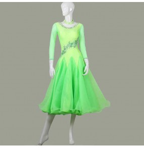 Custom size long sleeves Green color women girls competition ballroom dance dress big swing ballroom dance skirt waltz tango dance dresses