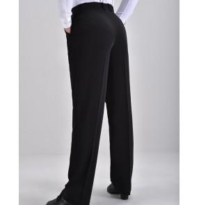 Custom size Men's black latin ballroom dance pants wide leg straight waltz tango flamenco chacha dance long pants dance trousers for male