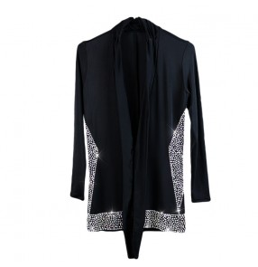 Custom size Men's black rhinestones competition latin dance shirts long sleeves stage performance cardigan tops for boy