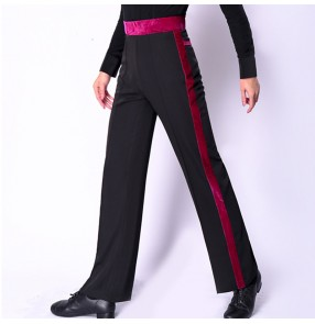Custom size Men's boys latin ballrom dance pants side with velvet striped ballroom tango chacha dance pants trousers
