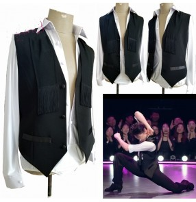 Custom size Men's latin dance Ballroom dance white body shirt black fringed vest ballroom tango waltz dance professional competition dance clothes