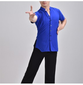 Custom size men short sleeves royal blue white black latin dance shirts ballroom dance tops plus size waltz tango dance shirts for male