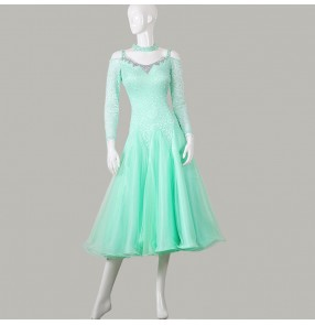 Custom size mint lace Ballroom dance dresses for women girls  tango waltz dance skirts for modern dance practice skirts ballroom dance skirts