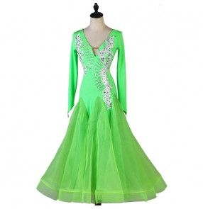 Custom size neon green ballroom dance dress for girls women ballroom dance skirts waltz tango dance costumes for female