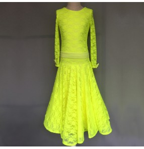 Custom size Neon yellow lace long sleeves ballroom dancing dress for girls kids