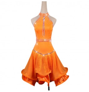 Custom size orange stones girls women competition latin dance dresses