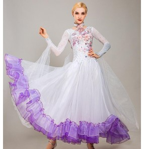 Custom size pink blue yellow ballroom dancing for girls women competition ballroom waltz tango dance dresses