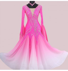 Custom size pink gradient bling competition dress for women girls Ballroom dance high-end waltz ballroom dance skirt Ballroom dance costume