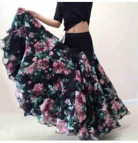 Custom size pink with black rose flowers ballroom dance skirts for women flamenco waltz tango dance skirts gown for female