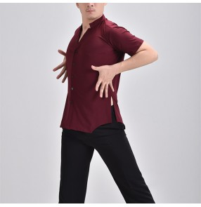 Custom size plus size men wine colored ballroom latin dance shirts short sleeves v neck flamenco waltz tango dance tops for male