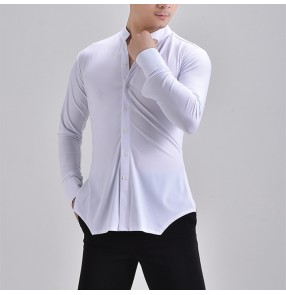 Custom size plus size white long sleeves latin ballroom dance shirts for men male stage performance flamenco waltz tango dance tops