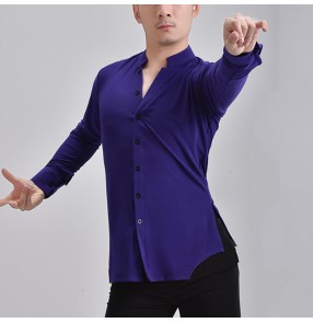 Custom size purple color men latin dance shirts long sleeves v neck ballroom waltz tango dance tops flamenco stage performance dance shirts for male