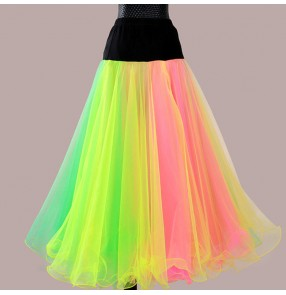 Custom size rainbow ballroom dance skirt for the female women stage performance professional waltz tango dance skirts