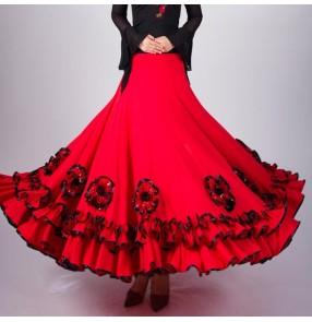 Custom size red ballroom dancing skirts for women girls competition professional waltz tango dancing swing skirts