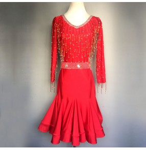 Custom size red girls women competition ballroom latin dance dresses samba chacha rumba salsa dance dress