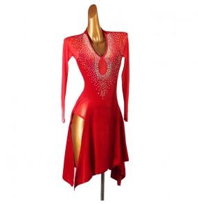 Custom size red rhinestones Latin dance dress long sleeves professional Latin dance competition rumba chacha performance dresses denim dance skirt three-step performance clothing