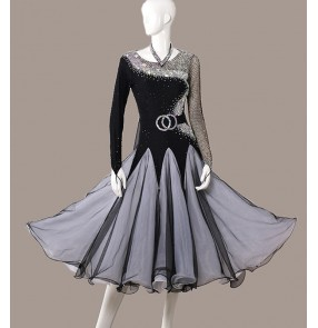 Custom size rhinestones competition professional black ballroom dance dress for women girls long sleeves waltz tango foxtort stage performance dresses