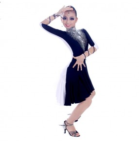 Custom size rhinestones girls women's black with white competition professional latin dance dresses salsa samba chacha dance dresses