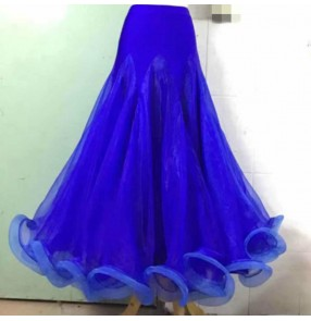 Custom size royal blue black ballroom dancing skirts for women girls stage performance waltz tango dance skirts