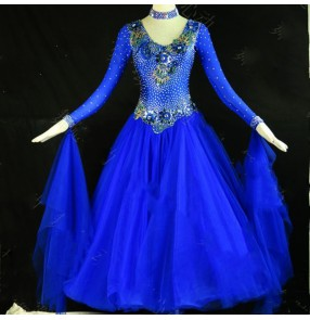Custom size royal blue competition ballroom dance dress for women girls stage performance rhinestones waltz tango dance dress ballroom dance costumes