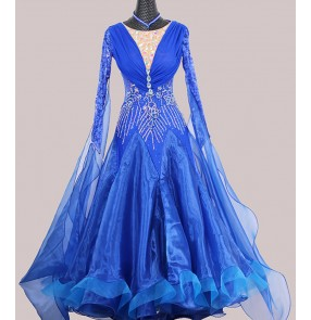 Custom size royal blue competition Ballroom dance dresses practice clothes Ballroom dancing skirts waltz tango dresses