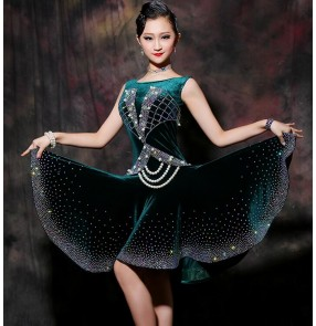 Custom size velvet dark green black girls women competition latin dance dresses violet stones samba chacha salsa dance dresses