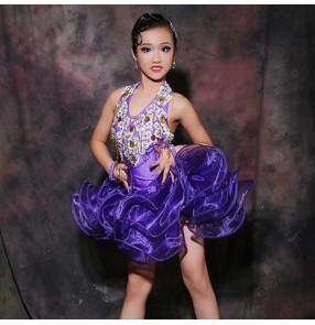 Custom size violet diamond handmade children women competition latin dance dresses kids salsa chacha samba dance dresses
